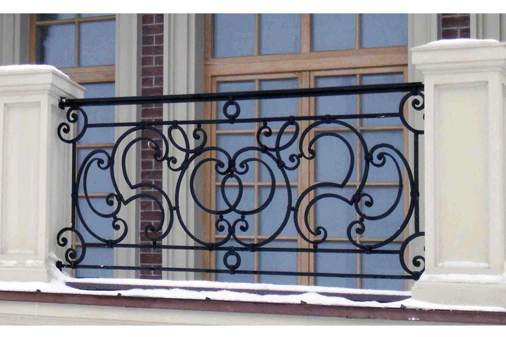 Кованые балконы Прямой кованый балкон Арт. Б-014 Norkovka