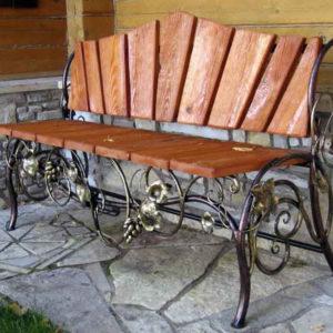 Кованые скамейки Кованая скамейка без подлокотников Арт. СК-014 Norkovka